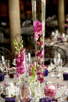 A Romantic Radiant Orchid Wedding Wedding Sets, Wedding Table, Wedding Ceremony, Dream Wedding, Wedding Day, Wedding Stuff, Wedding Vase Centerpieces, Bridal Decorations, Event Company