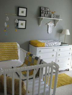 pokój dziecięcy szary żółty