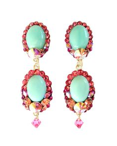 Gorgeous drop earrings with minty green amazonite stones surrounded with sparkling pink Swarovski rhinestones. The backs are finished with pink pave' rhinestones.  These make beautiful bridesmaids earrings and can be created in a number of different color and stone combinations. Bulk discount available when ordering 5 or more pairs.  Made to order - can be clip or standard post back.