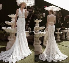 2016 Lace Mermaid Wedding Dresses Two Pieces Backless Chapel Train Sleeveless Sheer Neck Sexy Boho Spring Beach Garden Wedding Bridal Gowns Online with $136.02/Piece on Sweet-life's Store | DHgate.com