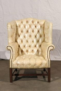 20th century tufted georgian style wing chair white leather