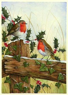 Our key principles are Fairness, Ability, Creativity, Trust and that's a F. Christmas Bird, Christmas Scenes, Vintage Christmas Cards, Christmas Pictures, Christmas Crafts, Bird Pictures, Pictures To Paint, Theme Noel, Christmas Paintings