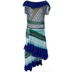 Missoni Runway Collection Roude Ruffled Crochet Knit Dress (11.139.860 IDR) ❤ liked on Polyvore featuring dresses, blue metallic, blue dress, tiered ruffle dress, blue party dress, blue print dress and blue wrap dress