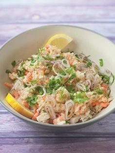 Salade de riz aux poissons et crevettes : Recette de Salade de riz aux poissons et crevettes - Marmiton