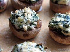 Appetizer Recipes: Easy Stuffed Mushrooms with Cream Cheese and Spinach.  Ready in 20 minutes!