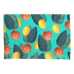 apples and lemons teal pillow case - home decor design art diy cyo custom