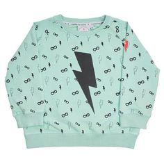 Cool Kid Sweatshirt - Lightening Bolt Pale Green