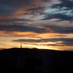 TV tower at sunset, Bratislava My Point Of View, Bratislava, Tower, Celestial, Sunset, Tv, Outdoor, Outdoors, Rook