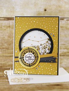 Masculine Shaker Card using the Going Global stamp set from Stampin' Up!- StampinByTheSea.com