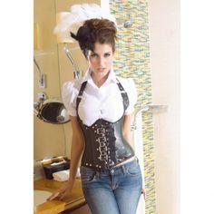 $32.09 Stylish Halter Neck Stud Embellished Black Under Bust Corset For Women