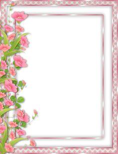 Pink PNG Frame with left side flower border Page Borders Design, Border Design, Frame Background, Paper Background, Png Floral, Molduras Vintage, Scrapbook Paper, Scrapbooking, Boarders And Frames