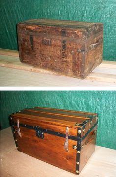 Before and After - refinished trunk