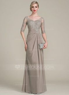 A-Line/Princess V-neck Floor-Length Chiffon Lace Mother of the Bride Dress With Ruffle - Mother of the Bride Dresses - JJsHouse Mother Of The Bride Gown, Mother Of Groom Dresses, Bride Groom Dress, Mothers Dresses, Bride Gowns, Chiffon Evening Dresses, Formal Evening Dresses, Formal Gowns, Chiffon Dress