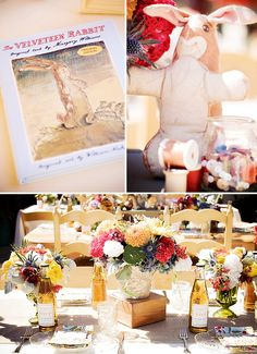 CA Shower.  I love the jar of buttons and spools of thread!  I also love the table, vases/jars with wild flowers.  A Velveteen Rabbit Inspired Baby Shower