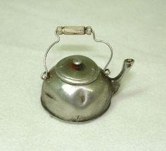 Dollhouse Miniature Ulus Artisan Crafted Aged Tea Kettle Metal & Wood