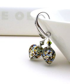 Silver Confetti Murano Glass Heart Earrings  by cooljewelrydesign, $44.50