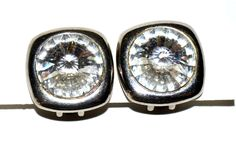 Large Clip On Earrings Clear Crystal front Beautiful Casual Jewelry Women #ER1 2 by eventsmatters on Etsy