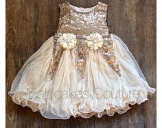 Gold Flower Girl Dress Tulle Dress Gold Wedding by MyPreciousTutu