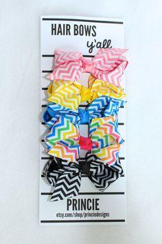 Chevron Rainbow hair bow clips for babies