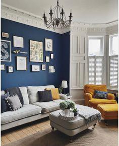 Living Room New York, Living Area, Farrow Ball, Norfolk, Stiffkey Blue, Colorful Dresser, Long Room, Wall Exterior, Metallic Wallpaper