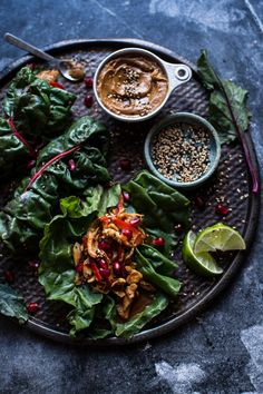 Sweet Thai Chile Chicken Swiss Chard Wraps with Peanut Ginger Sauce | halfbakedharvest.com @hbharvest
