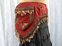 Plus size bellydance belt - tribal fusion utility belt - red and gold tool belt - steampunk pocket belt - festival belt - Large