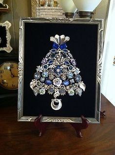Vintage Jewelry Christmas Tree of Life Cobalt Blue Silver | eBay