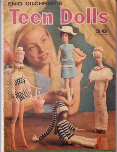 Enid Gilcrest 1960's Pattern Book for Teen dolls.  Also includes Skipper patterns