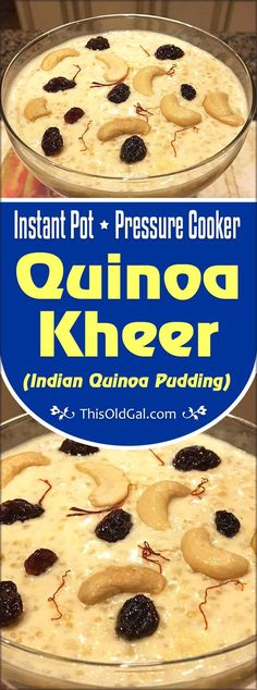 Pressure Cooker Quinoa Kheer {Indian Quinoa Pudding} is a healthier version of Rice Kheer, which uses Quinoa, rather than Basmati Rice. via paleo crockpot indian Pressure Cooker Quinoa, Instant Pot Pressure Cooker, Pressure Cooker Recipes, Pressure Cooking, Rice Recipes For Dinner, Dessert Recipes, Eggless Desserts, Quinoa Pudding, Indian Rice Pudding