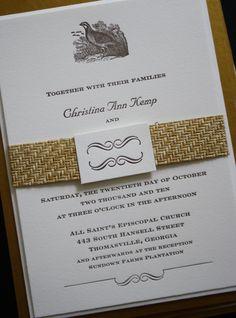 Ancesserie Custom #wedding #letterpress invitations http://www.ancesserie.com/weddings.html #elegant #rustic #country #bird #quail