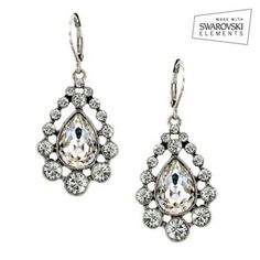 Face sliming crystal drop earrings made with Swarovski crystals   Nina Shoes Hydra www.NinaShoes.com
