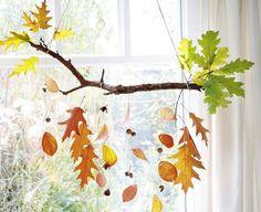 Laubblatt statt Postkarte Bild 3 Fensterdeko He Autumn Crafts, Nature Crafts, Diy For Kids, Crafts For Kids, Decor Scandinavian, Nature Table, Leaf Garland, Happy Fall Y'all, Window Art