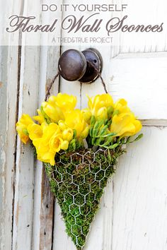 May Day baskets - Make these easy DIY Floral Wall Sconces with just a few supplies! Easy to customize and gift!