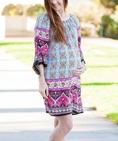 Black & Fuchsia Paisley Maternity Bell-Sleeve Dress
