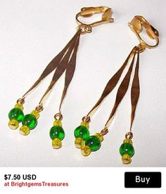 Beaded Dangle Earrings Green Yellow Color Gold Metal Clip On Wires LONG 3 in Vintage