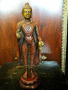 "9"" Standing Buddha Statue Brass Sculpture Buddhist Figurine Idol Meditation Decor Mogul Interior http://www.amazon.com/dp/B00VYDONLO/ref=cm_sw_r_pi_dp_PBUCvb0Z0XJSJ"