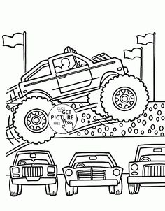 monster truck jumps over cars coloring page for kids transportation coloring pages printables free