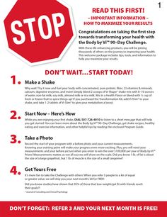 STOP: READ THIS FIRST! - Important Information - How To Maximize Your Body by Vi™ Results