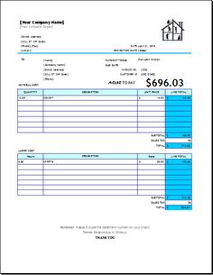 maid service invoice download at http www excelinvoicetemplates