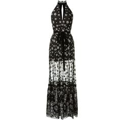 Alexis Florence Black Tulle Long Dress Embellished With Black And... (4.730 BRL) ❤ liked on Polyvore featuring dresses, tulle dress, v-neck sequin dresses, sequin dresses, black and white sequin dress and long sequin dress