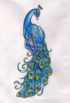 Peacock By Ice Wolf Elemental Traditional Art Drawings Animals Tattoo. I do want a peacock kinda like this but more purple!