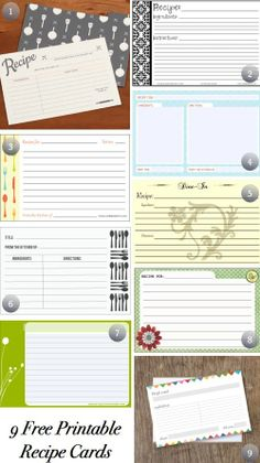 Free Cute Printable Recipe Cards | Free Printable Recipe Cards | Craft Ideas