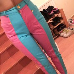 Reduced from £80 💖 Super cute baby pink and blue moschino jeans 💖 so wavey n rare never seen another pair of them before!!! Shown on 8-10- v tight so best for a 4/6/8 depending on fit 💙💙 one gold flower missing on back pocket (pic 3) 💖 vintage Versace Unif lazy oaf ragged priest omighty isolated heroes candy stripe