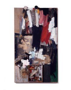 Robert Rauschenberg, Inlet, 1959, Combine, oil, newspaper, paper, wood, metal, fabric, pant leg, postcard, zipper, wire hanger, paper clip, ...