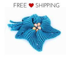 Free shipping Spilla fiore macrame lana turchese di morenamacrame