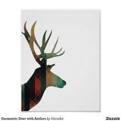 Geometric Deer with Antlers Poster #zazzle #deer #geometric