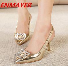ENMAYER Gold, Silver Platform Sandals Fashion Women High Heels Summer Shoes 2014 New Ladies Rhinestone Casual Wedding Sandals $60.66