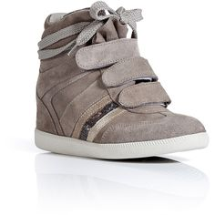 SERAFINI Taupe Suede Manhattan Wedge Sneakers ($310) ❤ liked on Polyvore