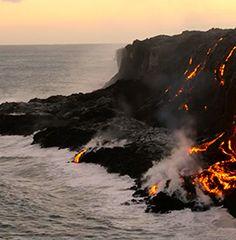 Volcanoes alongside the ocean with bright vivid lava. Hawaiian Luau, Hawaiian Islands, Hawaii Flights, Flight Sale, Southwest Airlines, International Flights, Waikiki Beach, Volcanoes, Pearl Harbor