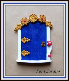 Fairy Door Blue  Glitter  Gold  Toadstools by PetitJardins on Etsy